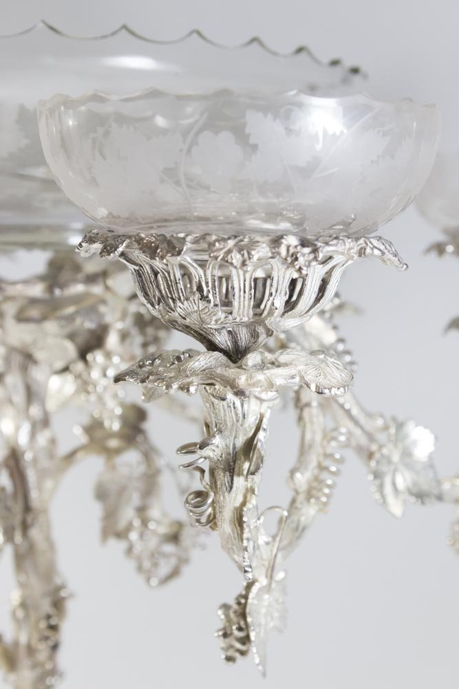 Monumental Silver-plated & Etched Crystal Epergne - 3