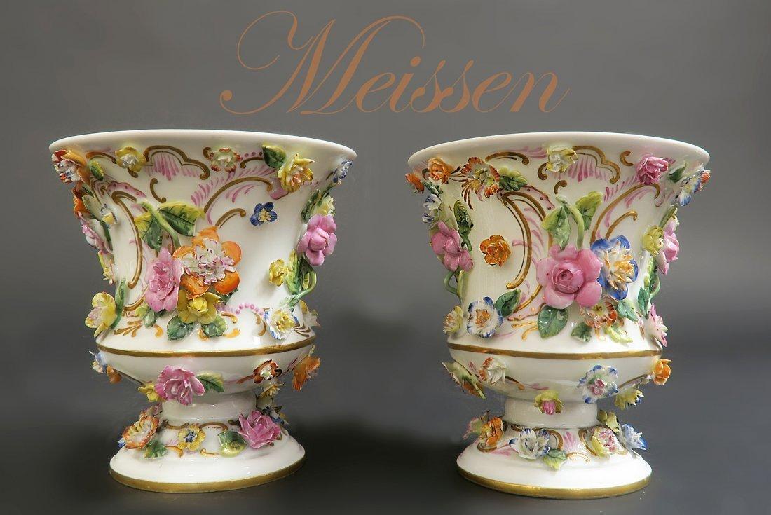 Pair of Meissen Porcelain Applied Flowers Vases