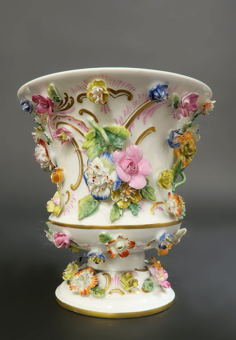 Pair of Meissen Porcelain Applied Flowers Vases - 5