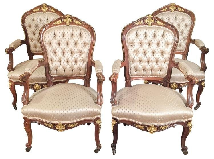 Set Of 4 French Walnut & Bronze Armchairs, 19TH C.