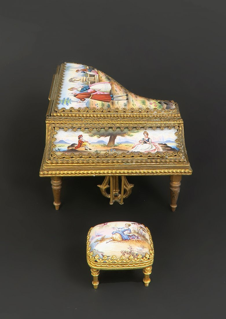 19th C. Viennese Enamel Bronze Miniature Piano & Stool