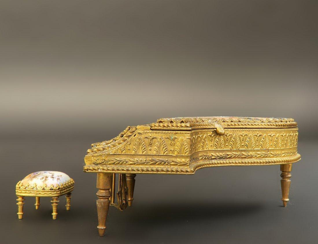 19th C. Viennese Enamel Bronze Miniature Piano & Stool - 2