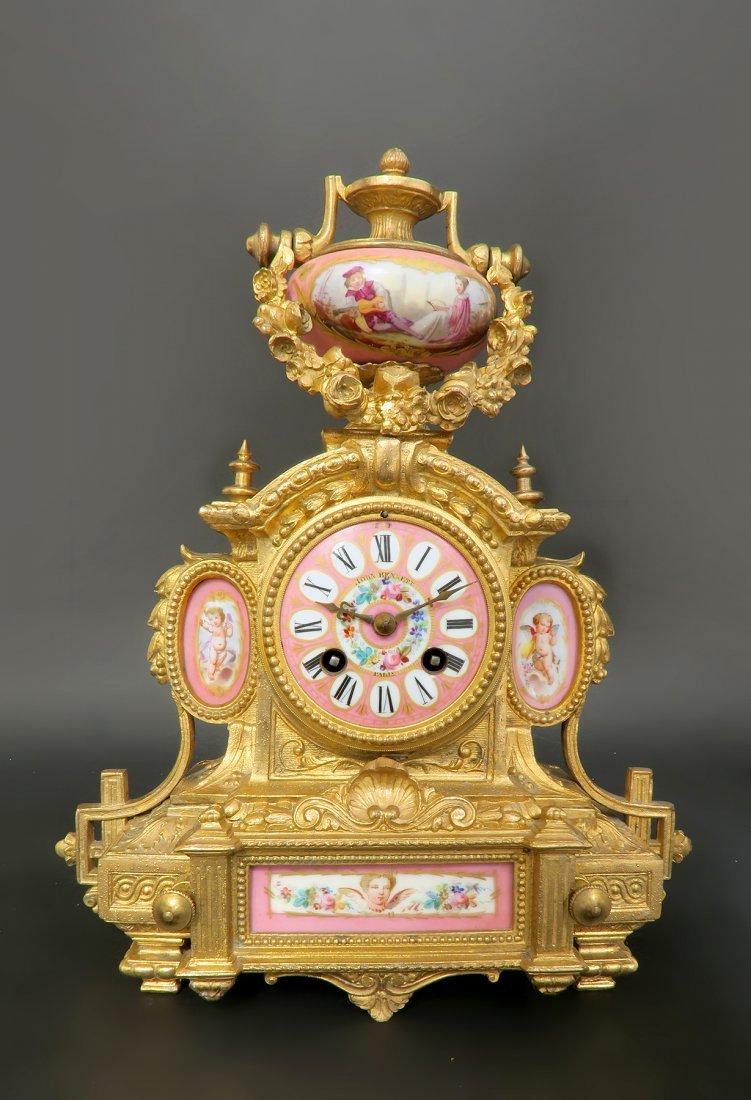 19th C. Pink Sevres Porcelain Clock