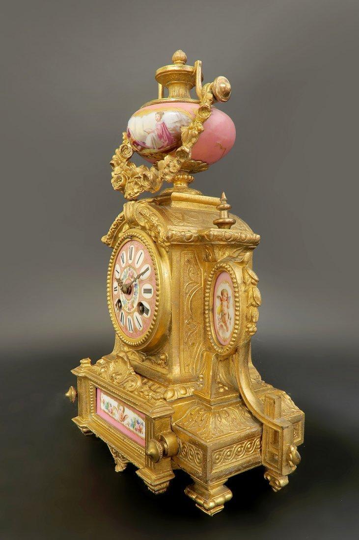 19th C. Pink Sevres Porcelain Clock - 2