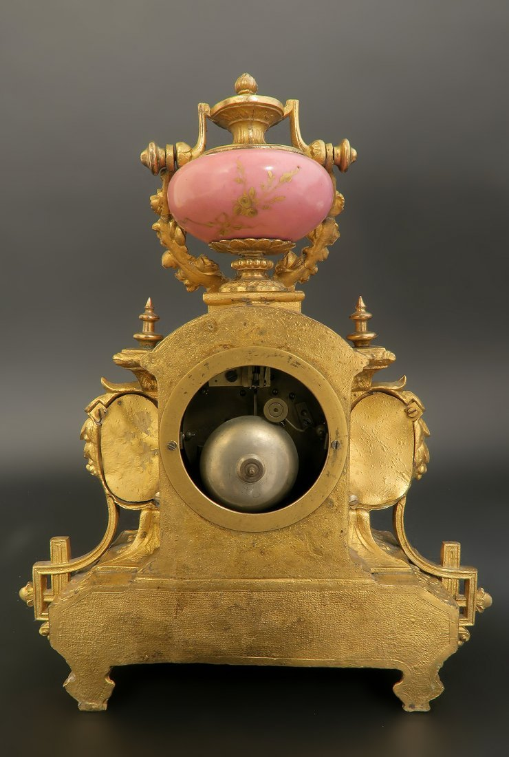 19th C. Pink Sevres Porcelain Clock - 3