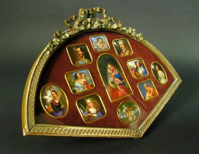 Framed Collection of 11 Hand Painted Porcelain Plaques