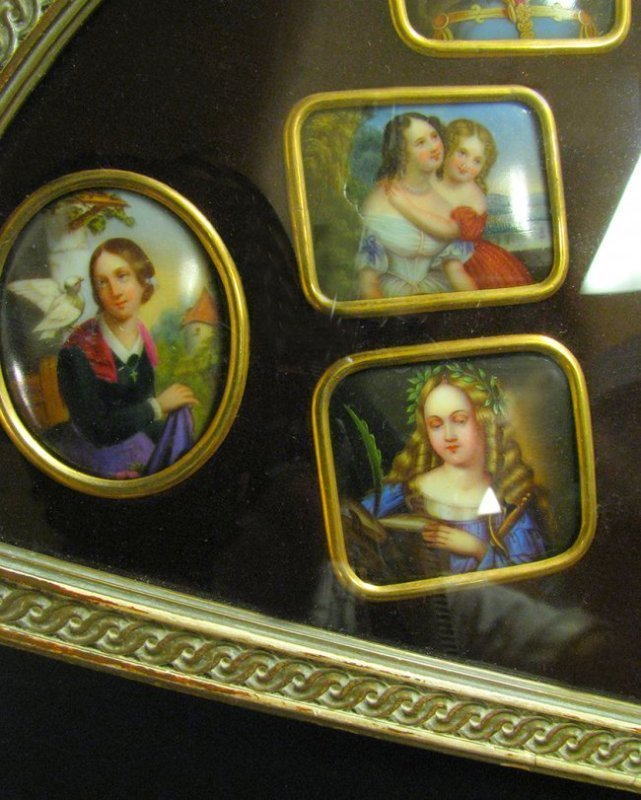 Framed Collection of 11 Hand Painted Porcelain Plaques - 6