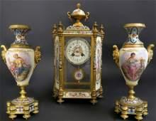 Bronze French Champleve Enamel Sevres Style Clock Set