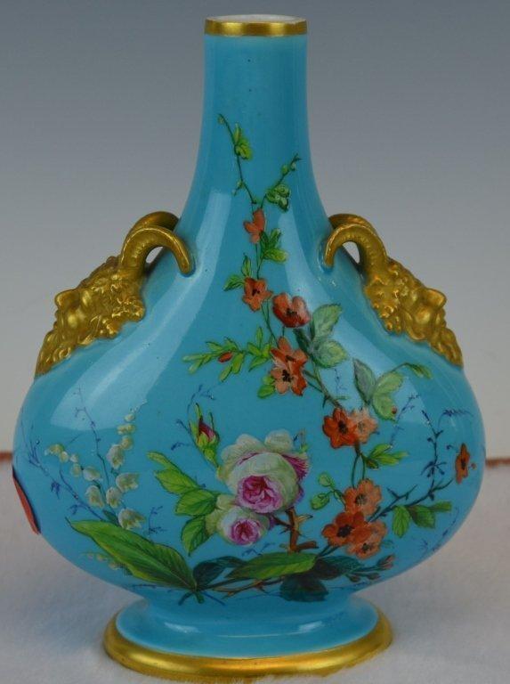 English Derby Porcelain Turquoise Blue Enameled Vase