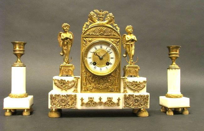 Empire Style Bronze and Marble Miniature Clock Set