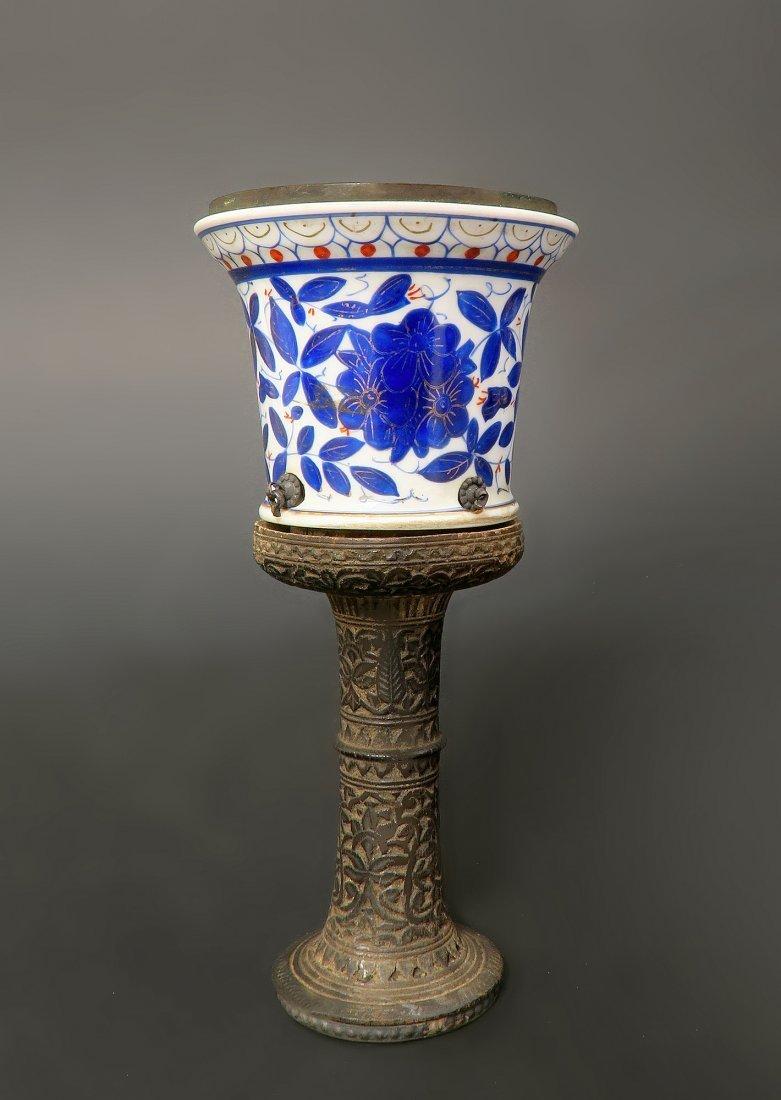 19th C. Persian Qajar Porcelain Hookah Head