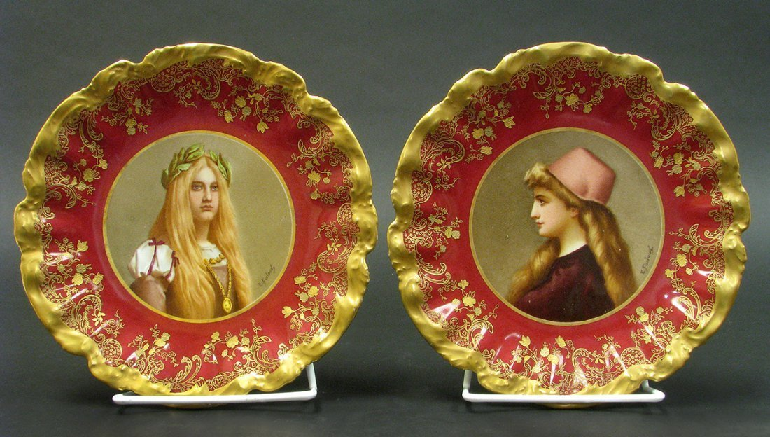 Pair of Hand Painted 19th C. Sevres Portrait Plates