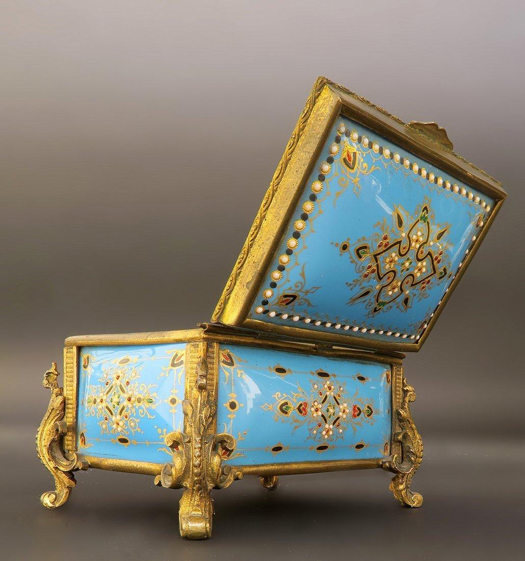 19th C. French Bronze & Enamel Jeweled Jewelry Box