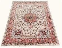 "Large Fine Hand Woven Wool/Silk Tabriz 9' 9.5"" x 13'"