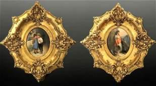 Lot of Two 19th C. Framed Berlin KPM Porcelain Plaques