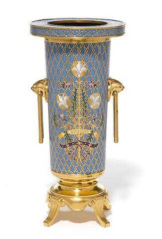 A French Gilt Bronze And Champlev Vase F Barbedienne