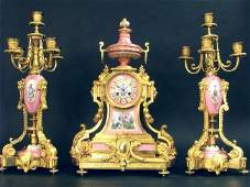 Magnificent Monumental Sevres Clock Set By H. Picard