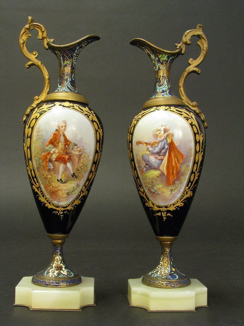 19th C. Cobalt Blue Sevres Style Champleve Urns