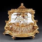 Gilt Bronze and Mirrored Baccarat Cave  Liqueur