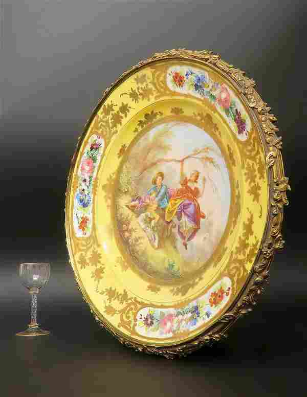 19th. C. Extra Large Hand Painted Framed Sevres Plate