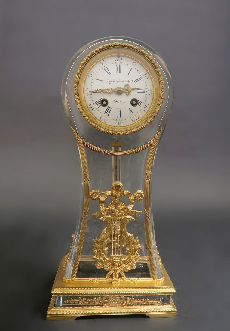French 19th C. Bronze & Baccarat Crystal Clock