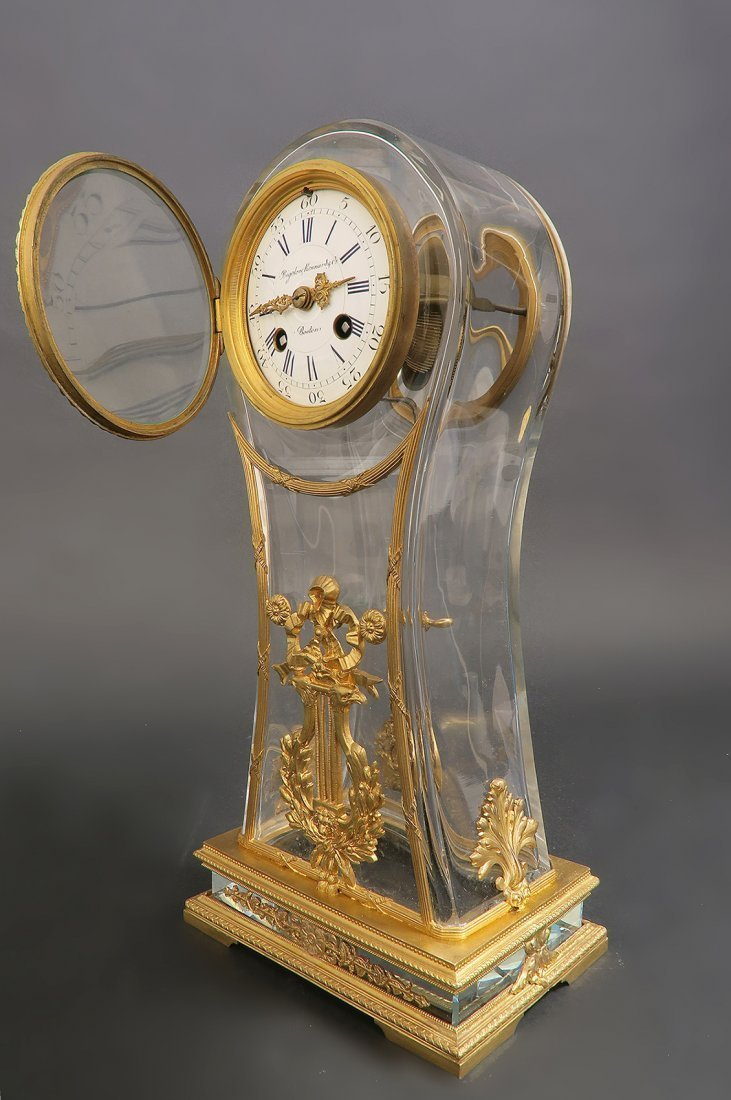 French 19th C. Bronze & Baccarat Crystal Clock - 2