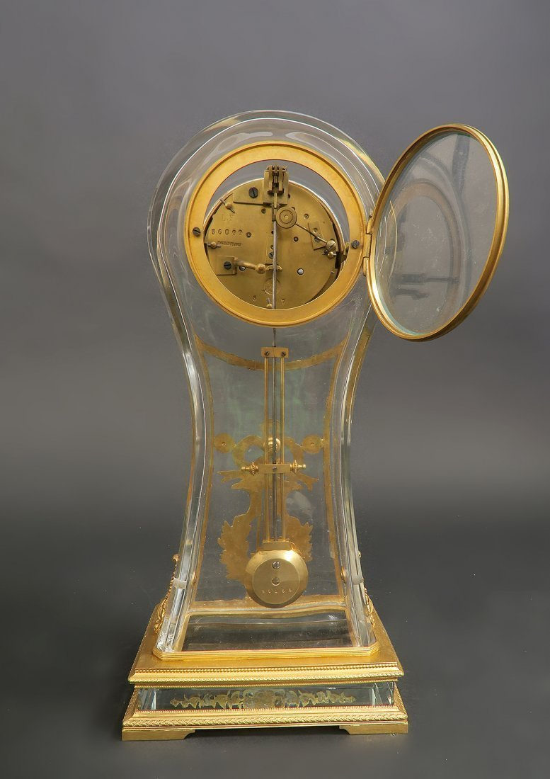 French 19th C. Bronze & Baccarat Crystal Clock - 4