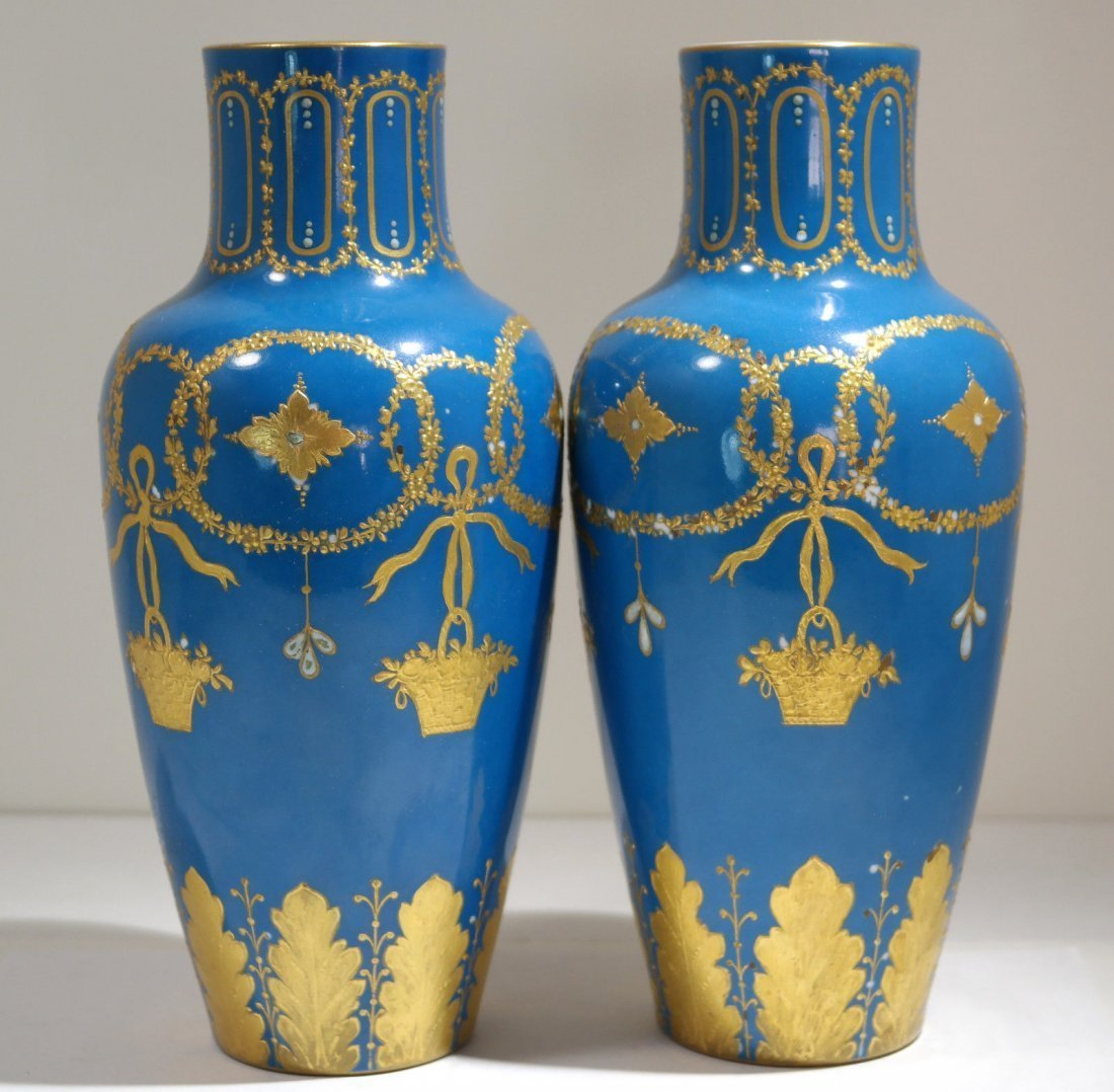 Pair of Turquoise Sevres Porcelain Vases