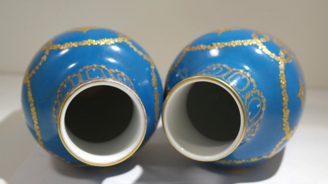 Pair of Turquoise Sevres Porcelain Vases - 4