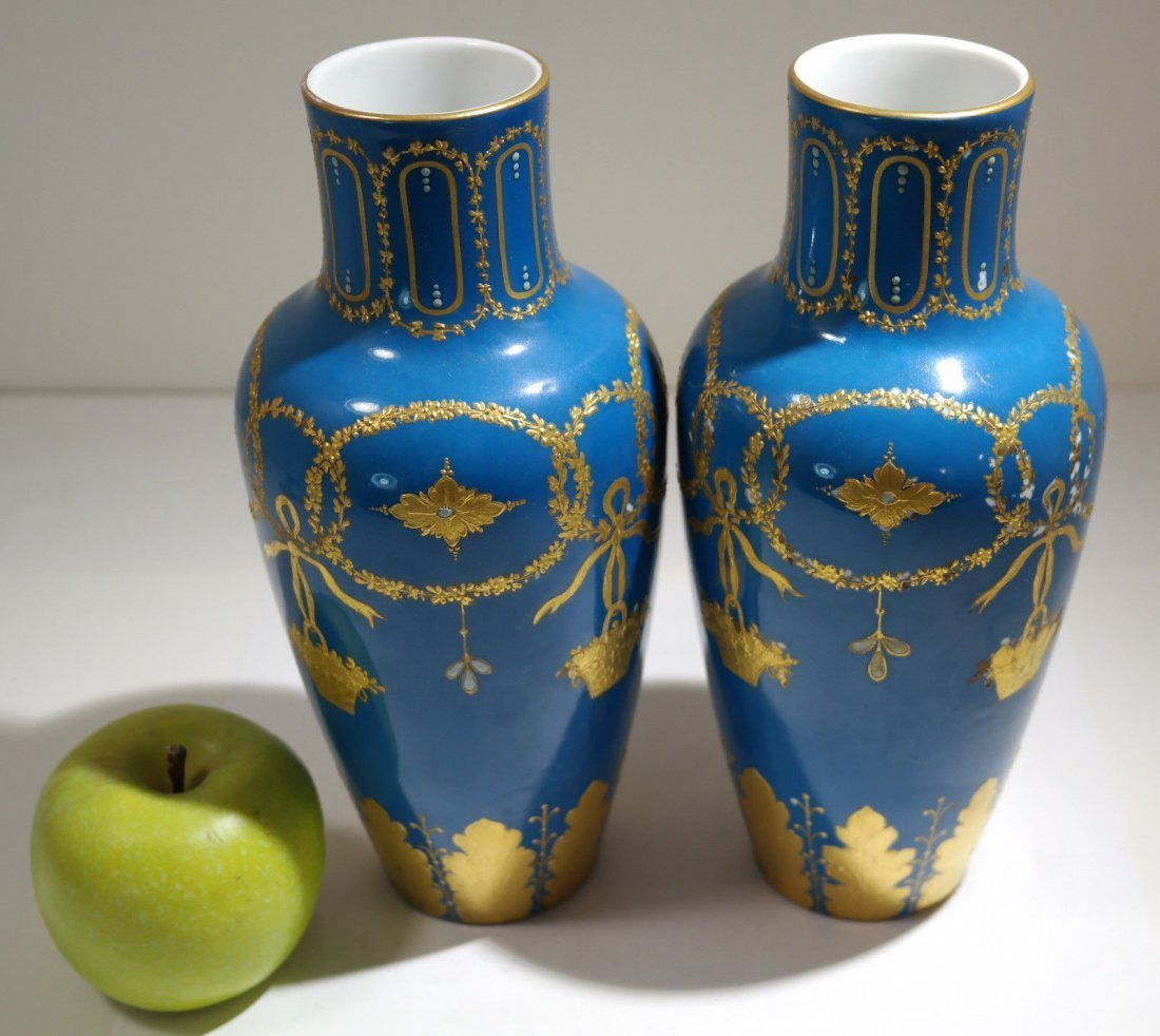 Pair of Turquoise Sevres Porcelain Vases - 5