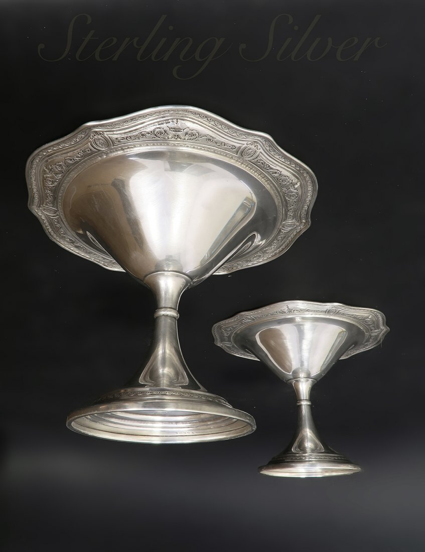 A Beautiful Pair Of Sterling Silver Candy Bowl