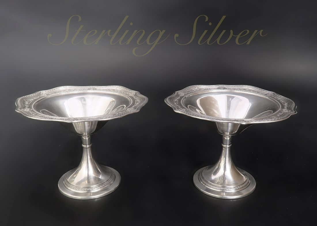 A Beautiful Pair Of Sterling Silver Candy Bowl - 2