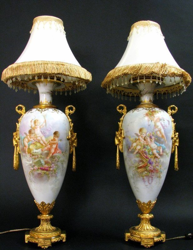 Pair of 19th C. Bronze Mounted Sevres Porcelain Lamps