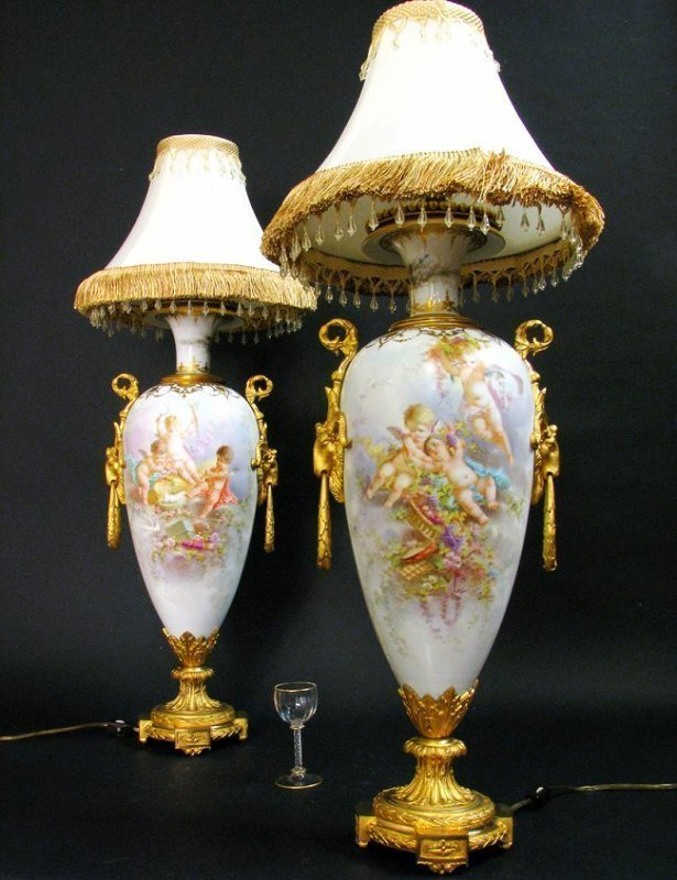 Pair of 19th C. Bronze Mounted Sevres Porcelain Lamps - 2