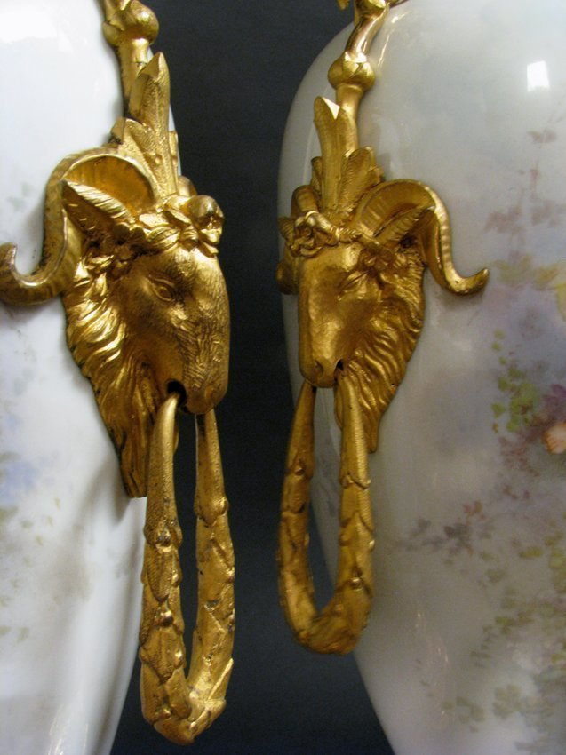 Pair of 19th C. Bronze Mounted Sevres Porcelain Lamps - 4