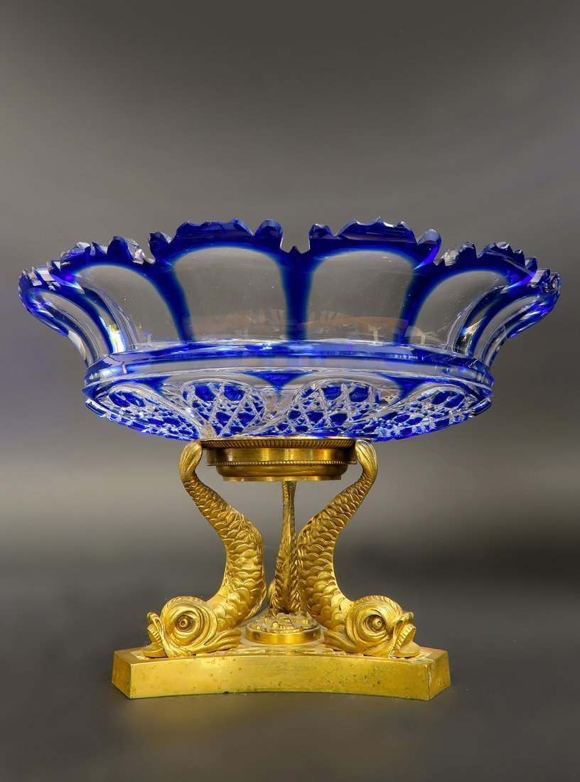 Exceptional 19th C. Bronze Baccarat Crystal Centerpiece