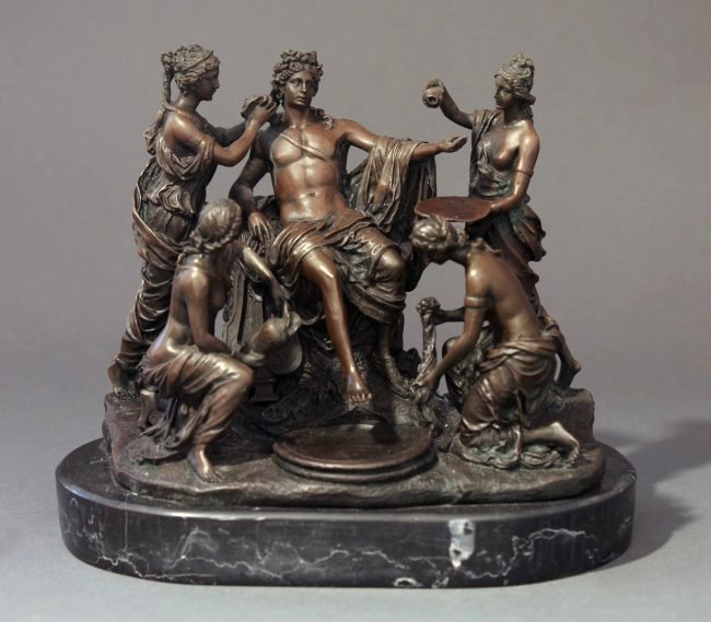 Fine 19th C. French Patinated Bronze Figural Group
