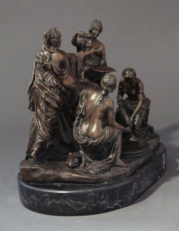 Fine 19th C. French Patinated Bronze Figural Group - 3