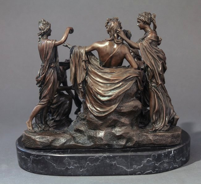 Fine 19th C. French Patinated Bronze Figural Group - 5