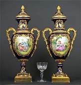 Large Pair of 19th C. Bronze & Sevres Porcelain Vases