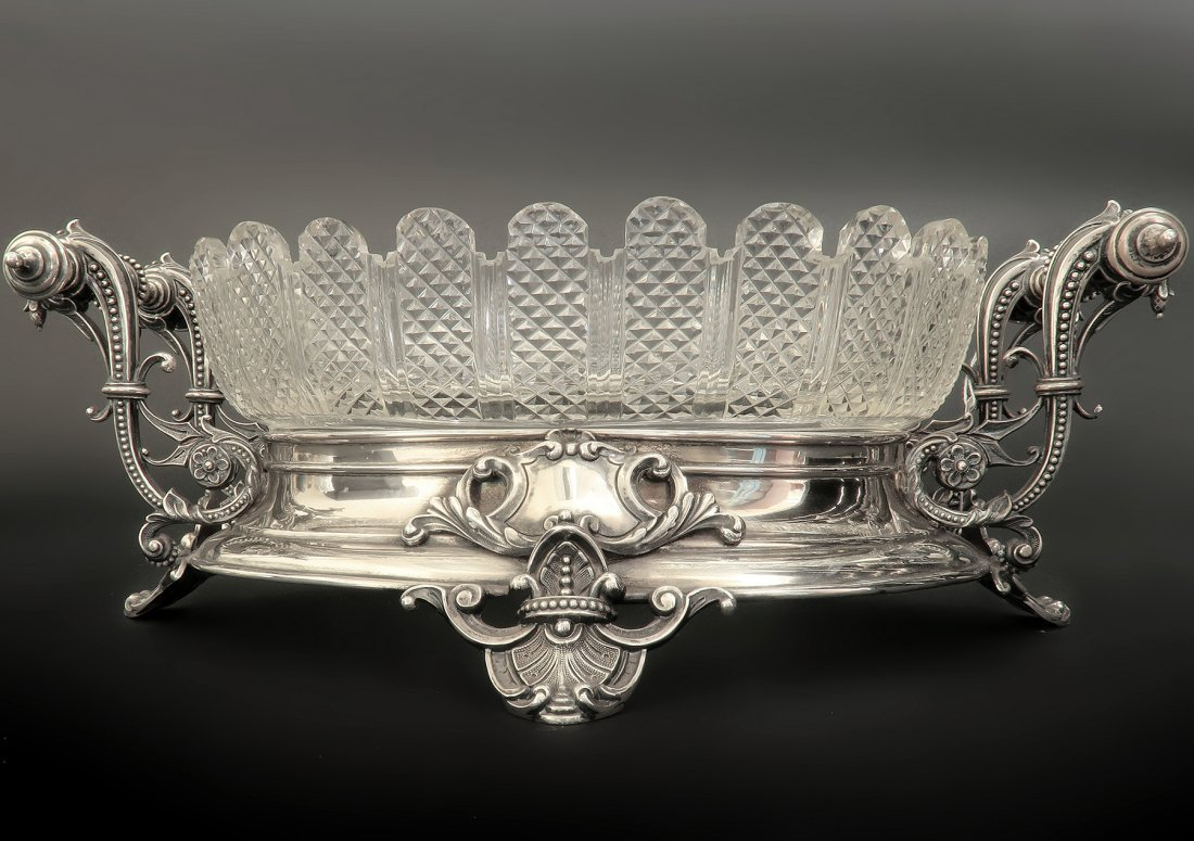 19th C. French Silver & Baccarat Crystal Centerpiece - 2