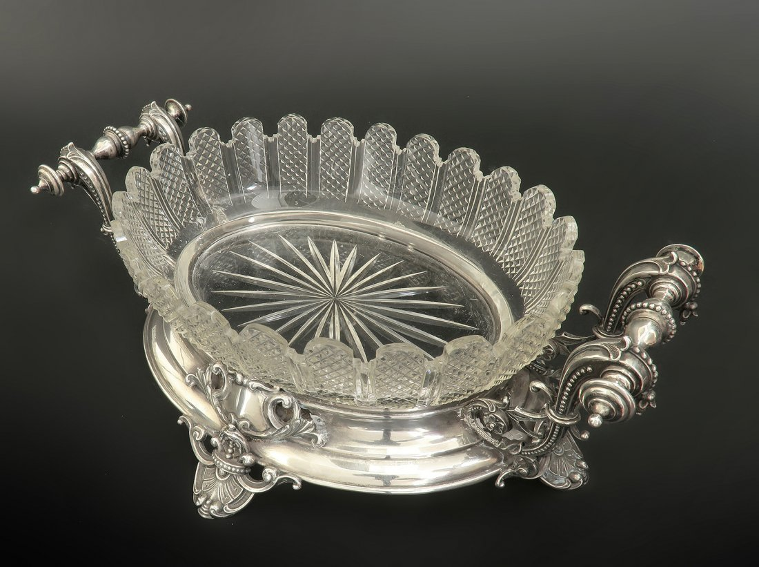 19th C. French Silver & Baccarat Crystal Centerpiece - 3