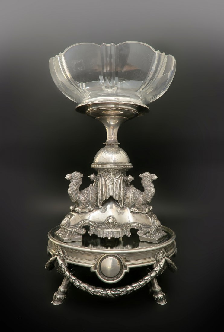 19th C. Centerpiece Baccarat Crystal & Plateau