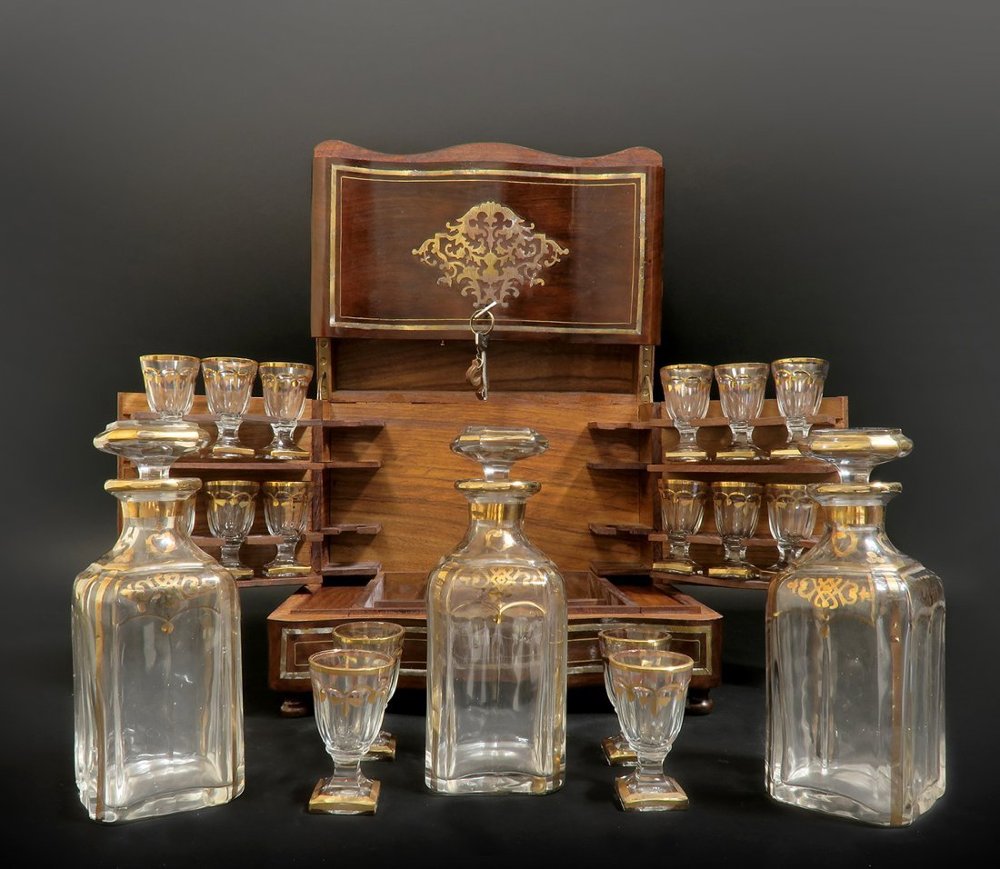 19th C. French Baccarat Crystal Tantalus/Cave a Liqueur - 2