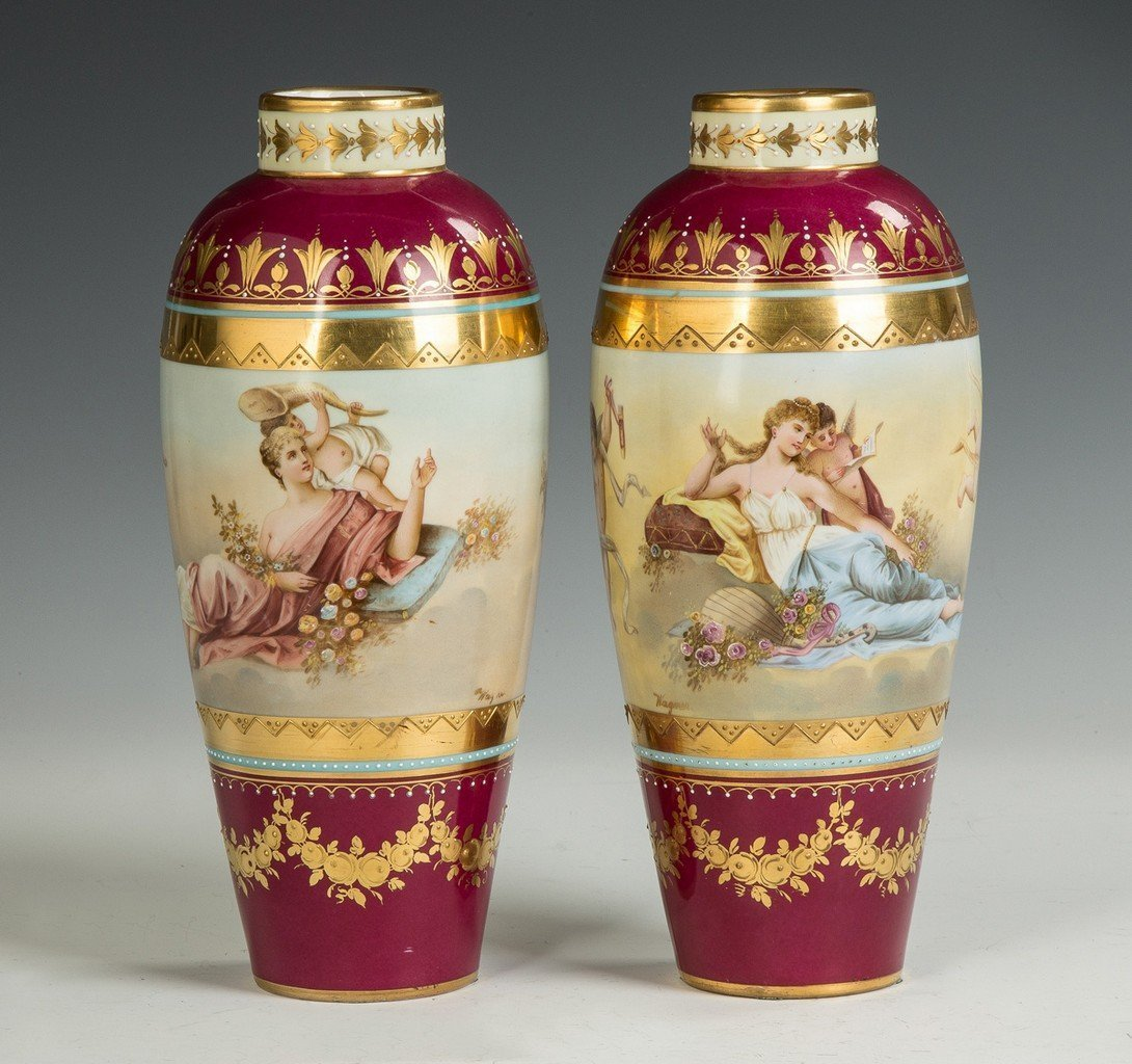 Austrian Hand Painted Porcelain and Enameled Vases