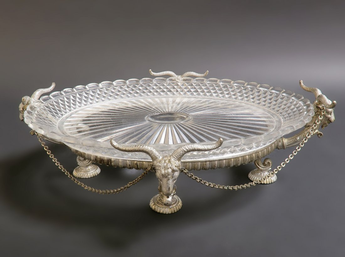 19th C.silver-plated & baccarat Crystal Centerpiece