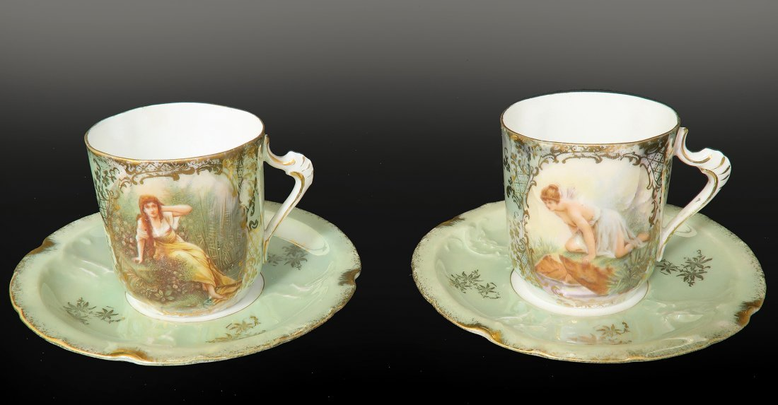 Lot of 2 French Sevres Cup & Saucers
