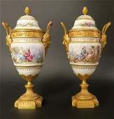 Pair of French Bronze  Sevres Porcelain Urns 19th Cen