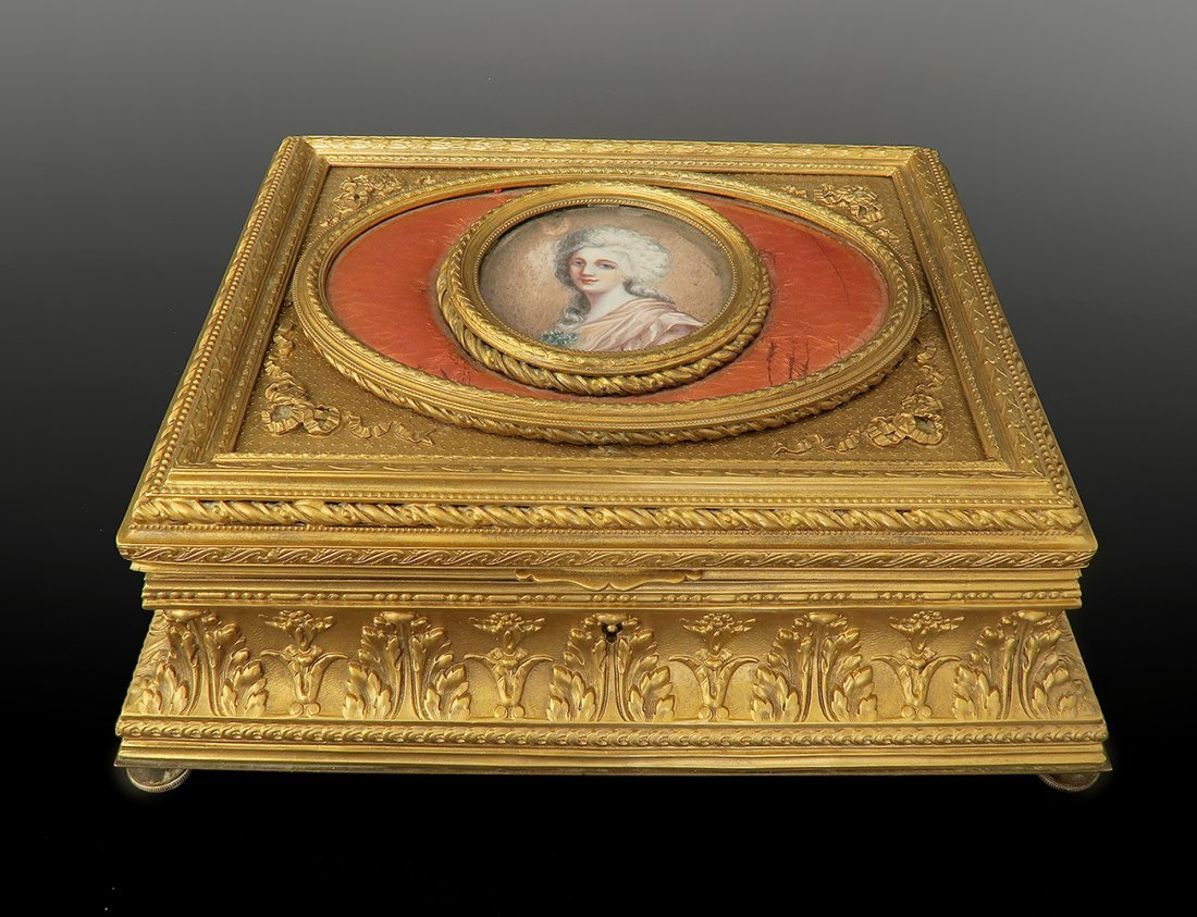 Large 19th C. French Bronze & Porcelain Jewelry Box