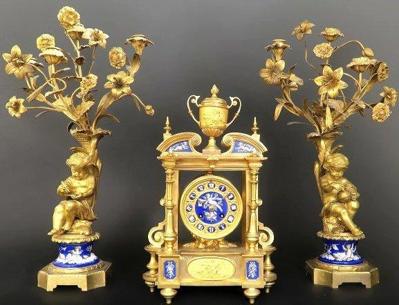 19th C. French Enamel & Bronze Figural Clock Garniture